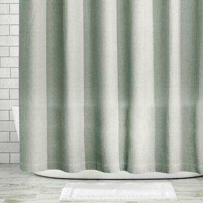 mDesign LONG Waffle Weave Fabric Shower Curtain -