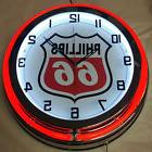 "Phillips 66 Gas Oil 19"" Double Neon Clock RED Neon Chrome Fi"