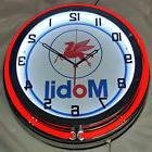 "Mobil Gas and Oil 19"" Double Neon Clock Red Neon Chrome Fini"