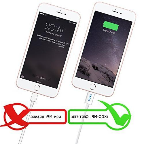 iXCC 3-Feet 8pin Lightning Charge Cable for iPhone 5/6/6s/Plus/iPad - Pieces White
