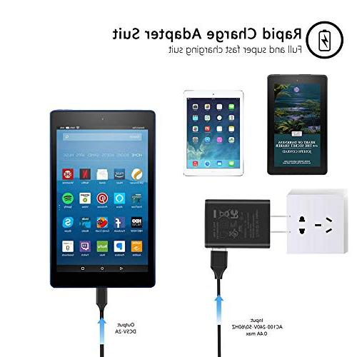"""Kindle Fire Charger, Ztotop AC 2A Rapid Charger with 5.0 Ft Cable for Kindle Fire 6"""" 7"""" 8.9"""" Fire 8 Tablet Power"""
