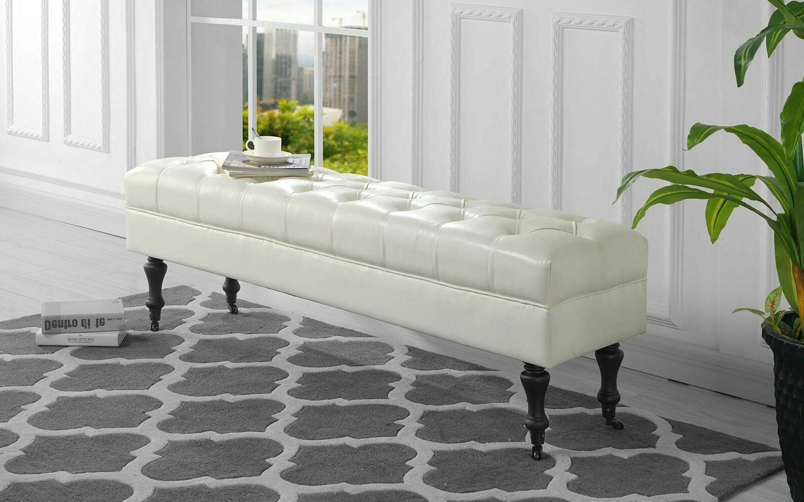 White Leather Bench Extra Long 5ft Button Tufted Casters Woo