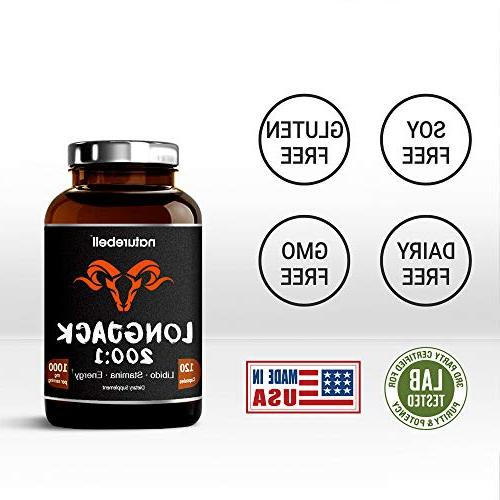 Long Jack 200:1, Per 120 Powerfully Supports Boosting Enhanced Stamina for Men & Non-GMO USA