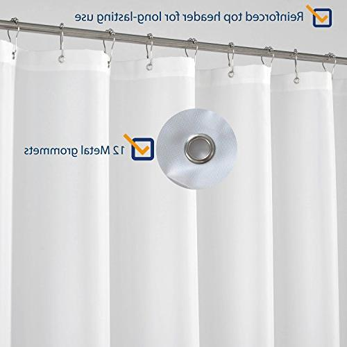 N&Y Long Shower Curtain Liner 72 Longer Mildew Repellent, White Spa Curtains