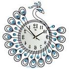 Luxury Diamond Peacock Large Wall Clocks Metal Living Room W