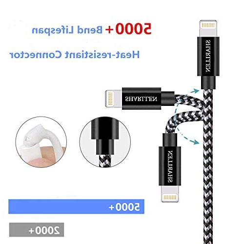 Sharllen Cable 3 Nylon Braided Fast Charging&Syncing Extra Long Cell-Phone iPhone Charger P/8/7/7P/6/iPad/IOS White
