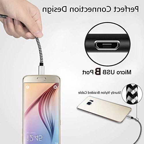 Extra Long Fast Cord Nylon Braided Speed USB Durable Charger Galaxy S7 Edge/S6/S5,Android G4,HTC,Echo Dot