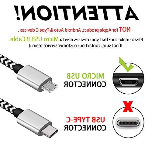 Micro USB Extra Long Cord Braided High Speed USB Charger Cable for Samsung Galaxy Edge/S6/S5,Android G4,HTC,Echo Dot