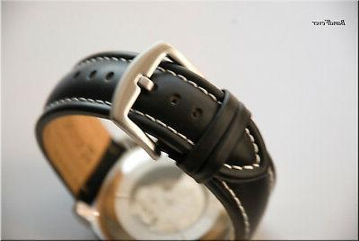 NEW  20mm XL EXTRA LONG BLACK SOFT CALF  GENUINE LEATHER WAT