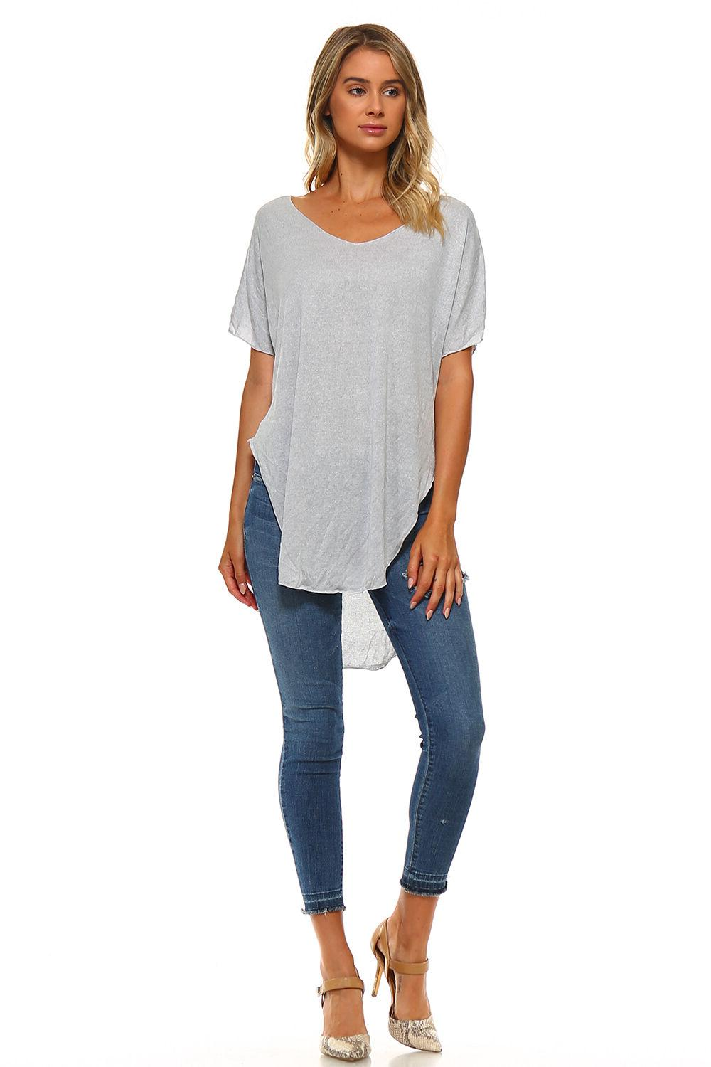 New Women's Long Hem Top USA