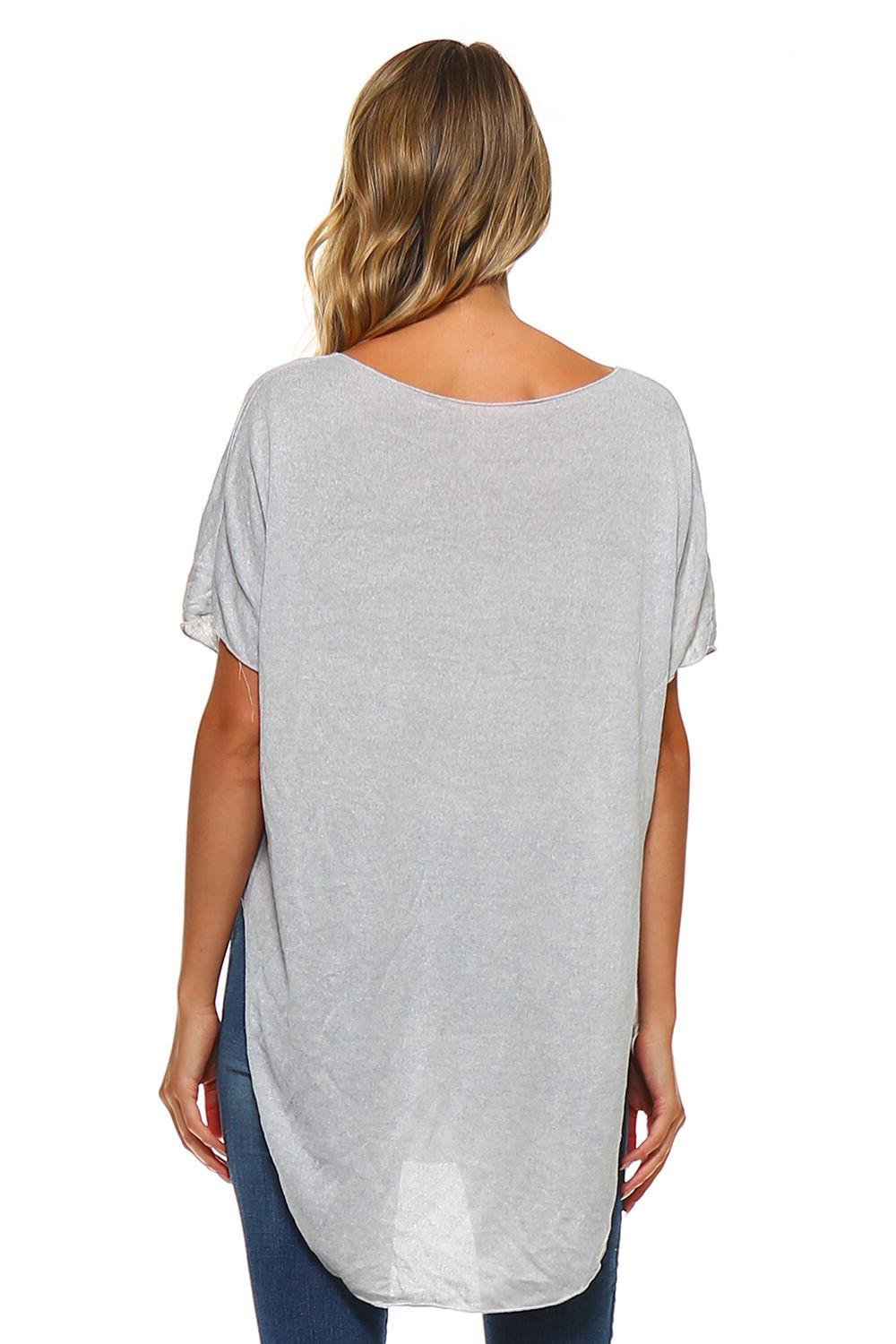 New Women's Silver Long Top USA S M XL