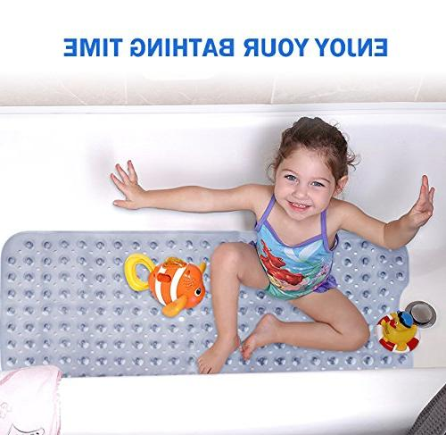 Extra Long Mildew Resistant Anti-Bacterial Shower Mat Machine Washable 16W Bath