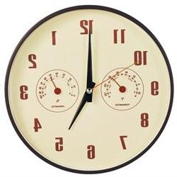 DecoMates Non-Ticking Silent Wall Clock with Built-In Thermo