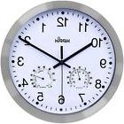 12 inch Non-ticking Silent Wall Clock with Thermometer Hygro