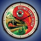 NORTHERN PACIFIC RAILROAD TRAIN LIGHTED WALL CLOCK RETRO GAM