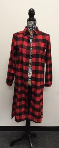 NWT Womens Long Sleeve Oversized Plaid Button Up Shirt Extra