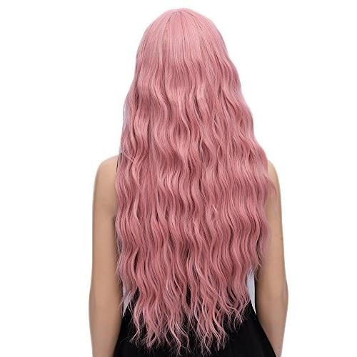 netgo Long Fluffy Wavy Hair Wigs for Heat Friendly Synthetic Cosplay Party