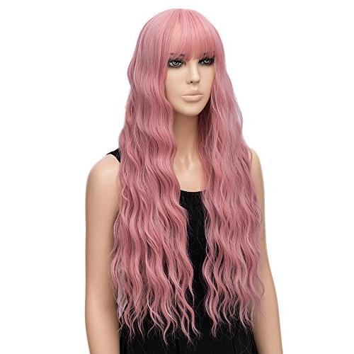 netgo Pink Long Fluffy Hair Wigs Girl Heat Friendly Synthetic Cosplay Party