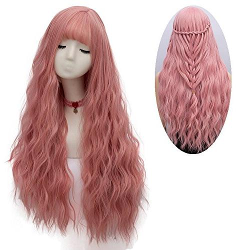 pink wig long fluffy curly