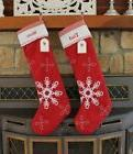 Pottery Barn Extra Long Quilted Snowflake Stockings: Set of