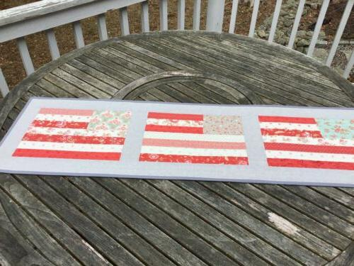 Handmade Quilted Table Runner Old Glory Flags Quilt Extra Lo