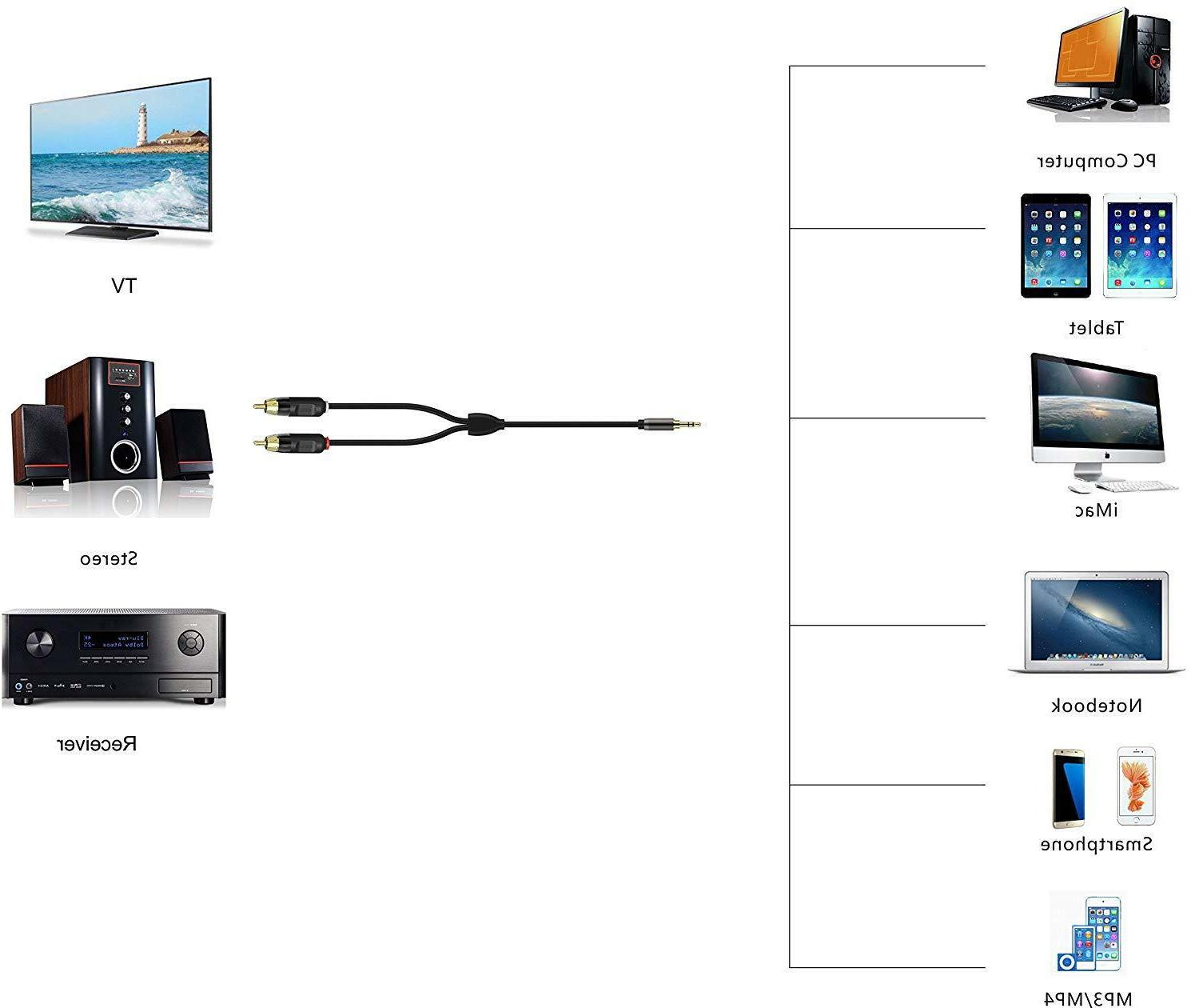 RCA Cable, iXCC Dual Male to Stereo