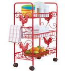 Red Metal Rooster 3 Shelf Rolling Cart, by Collections Etc