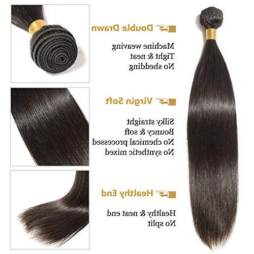 26 Human Hair Bundle Unprocessed Long Straight Virgin Hair 1 Bundle Weave for Afro Women Natural Black #1B 100g