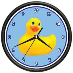 RUBBER DUCKIE ~Wall Clock~ duck bathroom tub kids room