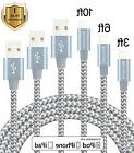 RUGGED 3PK MIX BRAIDED NYLON iPhone Charger Charging Cord Sy
