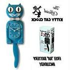 "SCUBA BLUE KITTY CAT CLOCK  12.75"" Free Battery MADE IN USA"