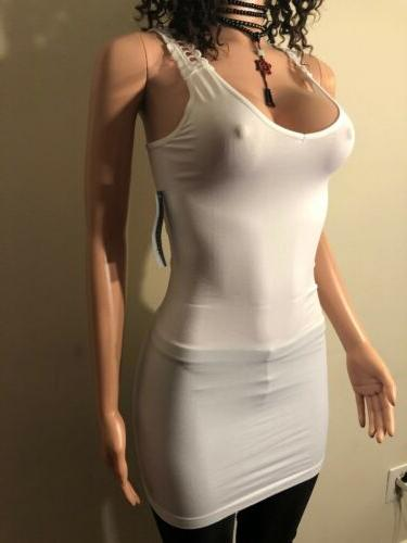 Sexy Crochet Back Extra Long Party Stretch Top Bodycon Shirt White S