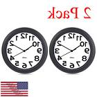 Silent Wall Clock 2 Pack Hippih Black Clocks 10 inch Non Tic
