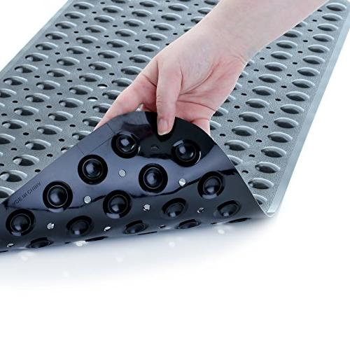 SlipX Solutions Solid Black Extra Mat Adds Traction to Tubs 30% Longer Than Standard Mats!