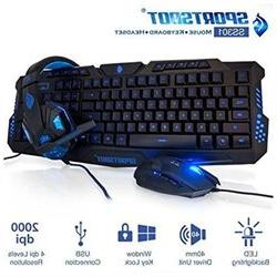 SportsBot SS301 Blue LED Gaming Over-Ear Headset Headphone,