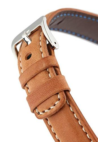 Signature Wood white extra-long watch band. strap. leather. Buckle