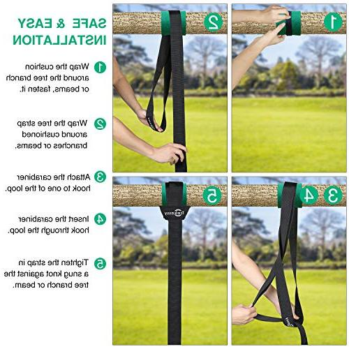 Trekassy Tree Swing Straps Two Double Straps with Carabiners duty Swing Set and