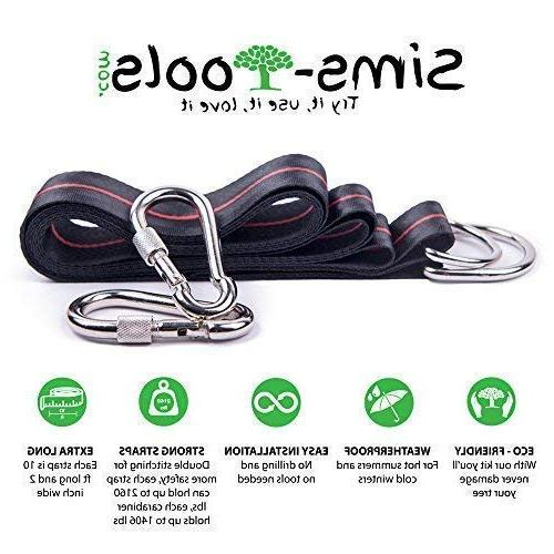 Sims-Tools - Tree Hanging Straps - 2 Extra Straps Strong Carbines Appropriate for Every and - Outdoor Rope - Quick and Easy
