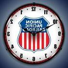 UNION PACIFIC RAILROAD TRAIN LIGHTED WALL CLOCK RETRO GAME R