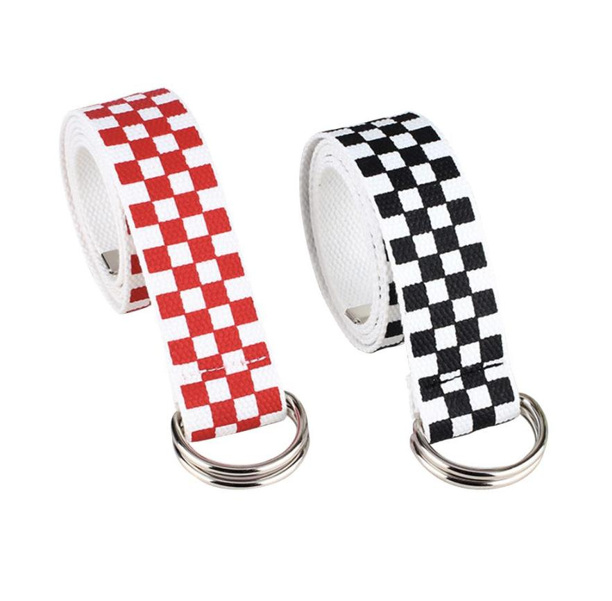 unisex checkered extra long belt canvas checkerboad