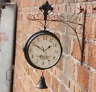 Vintage Double Sided Wall Clock Ring Bell Hallway Station Cl