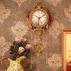 Vintage Retro European Luxury Metal Wood Wall Clock Antique