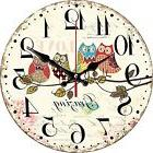 "Wall Clock 12"" Cartoon Owls Vintage Rustic Tuscan Wood Decor"