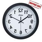 Large Wall Clock Indoor/Outdoor HIPPIH 12 Inch Non-Ticking &