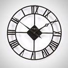 Wall Clock Roman Numbers Home Decor Rustic Look Round Living