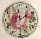 Wall Clock Sweet Cottage Roses Shabby Chic Pink Roses Cottag