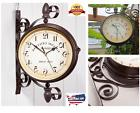 Wall Hanging Clock Double Sided Home Decor Retro Round Train