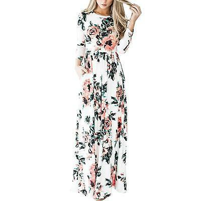 HOOYON Women's Casual Floral Printed Long Maxi Dress with Po