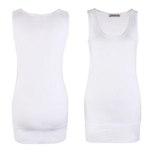 Moxeay Womens Casual Basic Long Stretch Cotton Tank