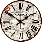 Wooden Clock Old Vintage Look Wall Hanging Home Decor Round